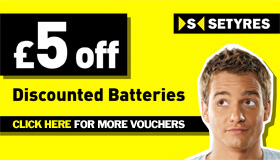 £5 discount on car tyre batteries with this voucher from Setyres