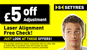Print this voucher for a free wheel alignment check and save £5 on any required adjustments at your local Setyres branch