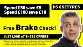 Print this voucher for a free brake check at your local Setyres branch