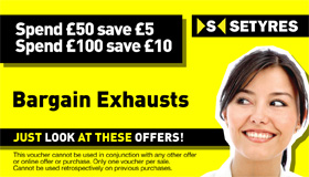 Save on exhausts - get £5 off a £50 spend or £10 off a £100 spend with this voucher at your local Setyres branch