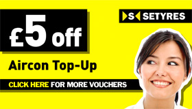 Print this voucher to save £5 on an air con top-up at your local Setyres branch