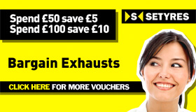 Bargain exhausts voucher saving £5 when you spend £50 & £10 when you spend £100 on car exhausts with Setyres