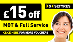 A £15 discount voucher for car MOT & full services at Setyres