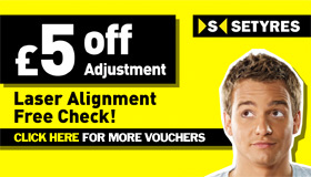 Laser alignment free check and £5 off adjustment from Setyres