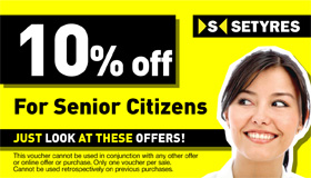 Senior citizens print this voucher to save 10% at your local Setyres branch