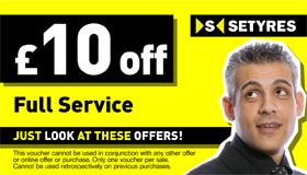 Print this voucher to save £10 on full servicing at your local Setyres branch