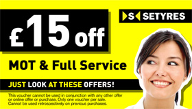Book an MOT test alongside a full service at your local Setyres branch and save £15 with this voucher