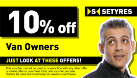 Van owners print this voucher to save 10% at your local Setyres branch