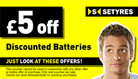 Print this voucher to save £5 when you buy a car battery at your local Setyres branch