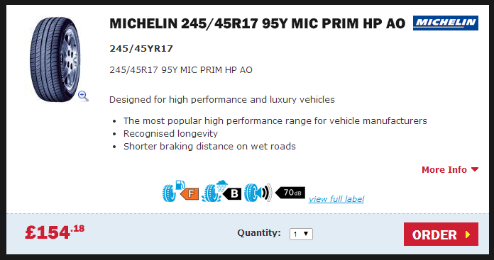Buy Michelin 245/45R17 95y mic prim hp ao tyres from Setyres
